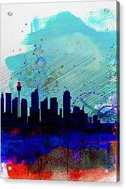 Sydney Watercolor Skyline Acrylic Print by Naxart Studio