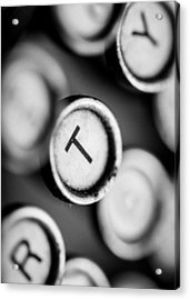 T Is For Typewriter Acrylic Print by Jon Woodhams