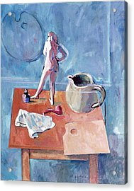 Tabletop With Figurine Acrylic Print by Mark Lunde
