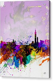 Taipei Watercolor Skyline Acrylic Print by Naxart Studio