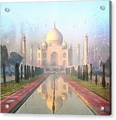 Taj Mahal In The Rain Acrylic Print by Georgiana Romanovna