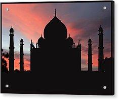Taj Mahal Silhouette Acrylic Print by Kim Andelkovic
