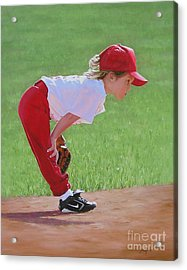 Taking An Infield Position Acrylic Print by Emily Land