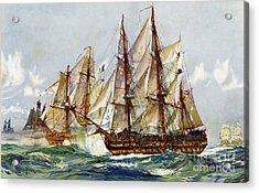 Taking On The Duguay Trouin After Trafalgar Acrylic Print by Charles Edward Dixon