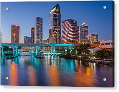 Tampa Skylines Acrylic Print by RB Art