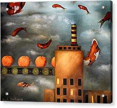 Tangerine Dream Edit 2 Acrylic Print by Leah Saulnier The Painting Maniac