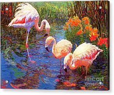 Flamingos, Tangerine Dream Acrylic Print by Jane Small