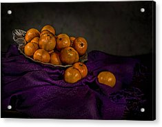 Tangerines In A Shell Platter Acrylic Print by Leah McDaniel