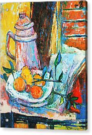 Tankard And Fruit Acrylic Print by Siang Hua Wang