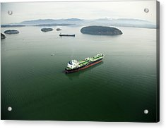 Tanker Ships At Anchor Offshore Of The Acrylic Print by Andrew Buchanan/SLP