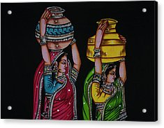 Tapestry Depicting Indian Girls Acrylic Print by Keren Su