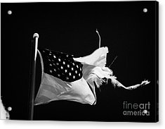 Tattered Torn Worn Us Flag Flying From Flagpole Acrylic Print by Joe Fox