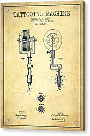 Tattooing Machine Patent From 1891 - Vintage Acrylic Print by Aged Pixel