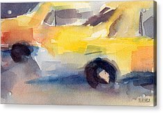 Taxi Cabs Nyc Watercolor Painting Acrylic Print by Beverly Brown