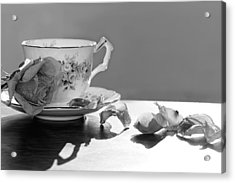 Tea And Roses Still Life Acrylic Print by Lisa Knechtel