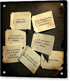 Tea Bag Words Of Wisdom Acrylic Print by Patricia Januszkiewicz