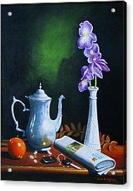 Tea Pot With Iris Acrylic Print by Gene Gregory
