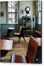 Teacher - One Room Schoolhouse With Clock Acrylic Print by Susan Savad