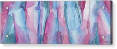 Teal Magenta And Turquoise Abstract Panoramic Painting Acrylic Print by Beverly Brown Prints