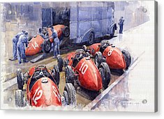 Team Ferrari 500 F2 1952 French Gp Acrylic Print by Yuriy  Shevchuk