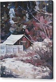 Teanaway Barn In Winter Acrylic Print by Lori Pittenger