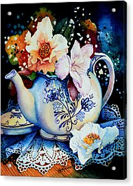 Teapot Posies And Lace Acrylic Print by Hanne Lore Koehler