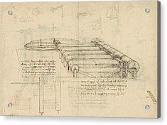 Teaselling Machine To Manufacture Plush Fabric From Atlantic Codex  Acrylic Print by Leonardo Da Vinci