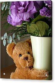 Teddy Bear Hugs Acrylic Print by Avis  Noelle
