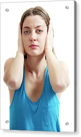 Teenage Girl Covering Ears Acrylic Print by Lea Paterson