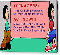 Teenagers Act Now Acrylic Print by Barbara Snyder