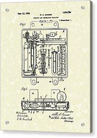 Temperature Regulator 1925 Patent Art Acrylic Print by Prior Art Design