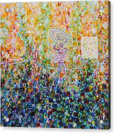 Temple Dance-tightrope  Acrylic Print by Anne Cameron Cutri