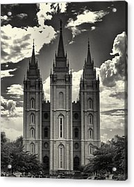 Temple Square Black And White Acrylic Print by Joshua House
