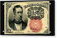 Ten Cents 5th Issue U.s. Fractional Currency Fr 1266 Acrylic Print by Lanjee Chee