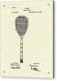 Tennis Racket 1887 Patent Art Acrylic Print by Prior Art Design