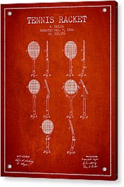 Tennis Racket Patent From 1886 - Red Acrylic Print by Aged Pixel