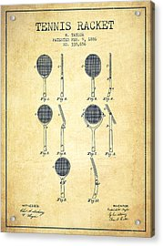 Tennis Racket Patent From 1886 - Vintage Acrylic Print by Aged Pixel