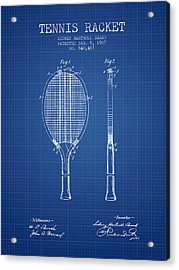 Tennis Racket Patent From 1907 - Blueprint Acrylic Print by Aged Pixel