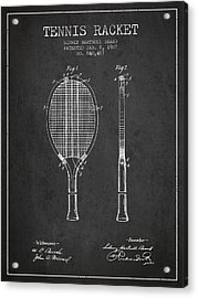Tennis Racket Patent From 1907 - Charcoal Acrylic Print by Aged Pixel