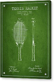 Tennis Racket Patent From 1907 - Green Acrylic Print by Aged Pixel