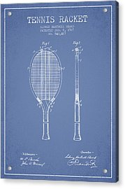 Tennis Racket Patent From 1907 - Light Blue Acrylic Print by Aged Pixel