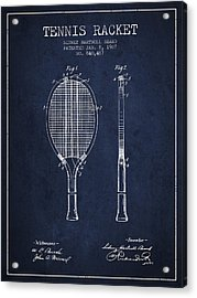 Tennis Racket Patent From 1907 - Navy Blue Acrylic Print by Aged Pixel