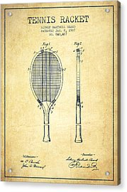 Tennis Racket Patent From 1907 - Vintage Acrylic Print by Aged Pixel