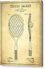 Tennnis Racketl Patent Drawing From 1921 - Vintage Acrylic Print by Aged Pixel