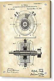 Tesla Alternating Electric Current Generator Patent 1891 - Vintage Acrylic Print by Stephen Younts