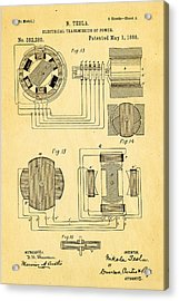 Tesla Electrical Transmission Of Power Patent Art 3 1888 Acrylic Print by Ian Monk