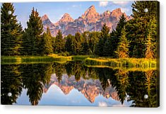 Teton Sunrise Acrylic Print by Chris Austin