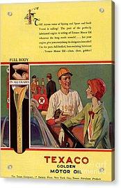 Texaco 1926 1920s Usa Cc  Baseball  Oil Acrylic Print by The Advertising Archives