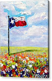 Texas Flag And Wildflowers Acrylic Print by Melissa Torres