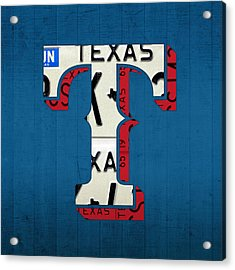 Texas Rangers Baseball Team Vintage Logo Recycled License Plate Art Acrylic Print by Design Turnpike